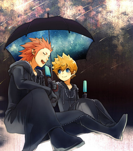 kingdom hearts fondo de pantalla possibly containing a calle and a parasol titled Roxas and Axel
