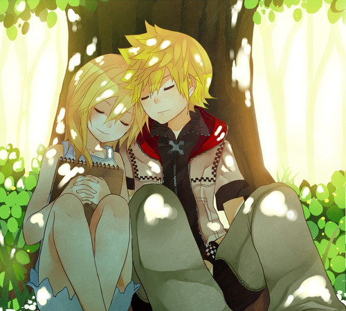 kingdom hearts fondo de pantalla possibly containing a bouquet entitled Roxas and Namine