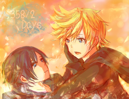 Kaharian mga puso wolpeyper with anime called Roxas and Xion