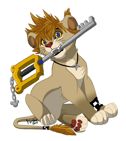 Kingdom Hearts wallpaper probably containing anime called Roxas lion cub