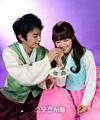 Seo In Guk and A Pink Eunji in Hanbok
