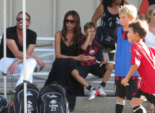 Sept. 29th - LA - Victoria and Harper watching the boys play calcio