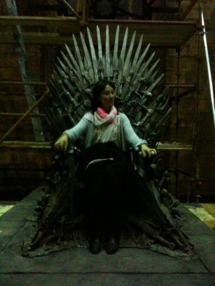 Sibel Kekilli tries out the Iron Throne