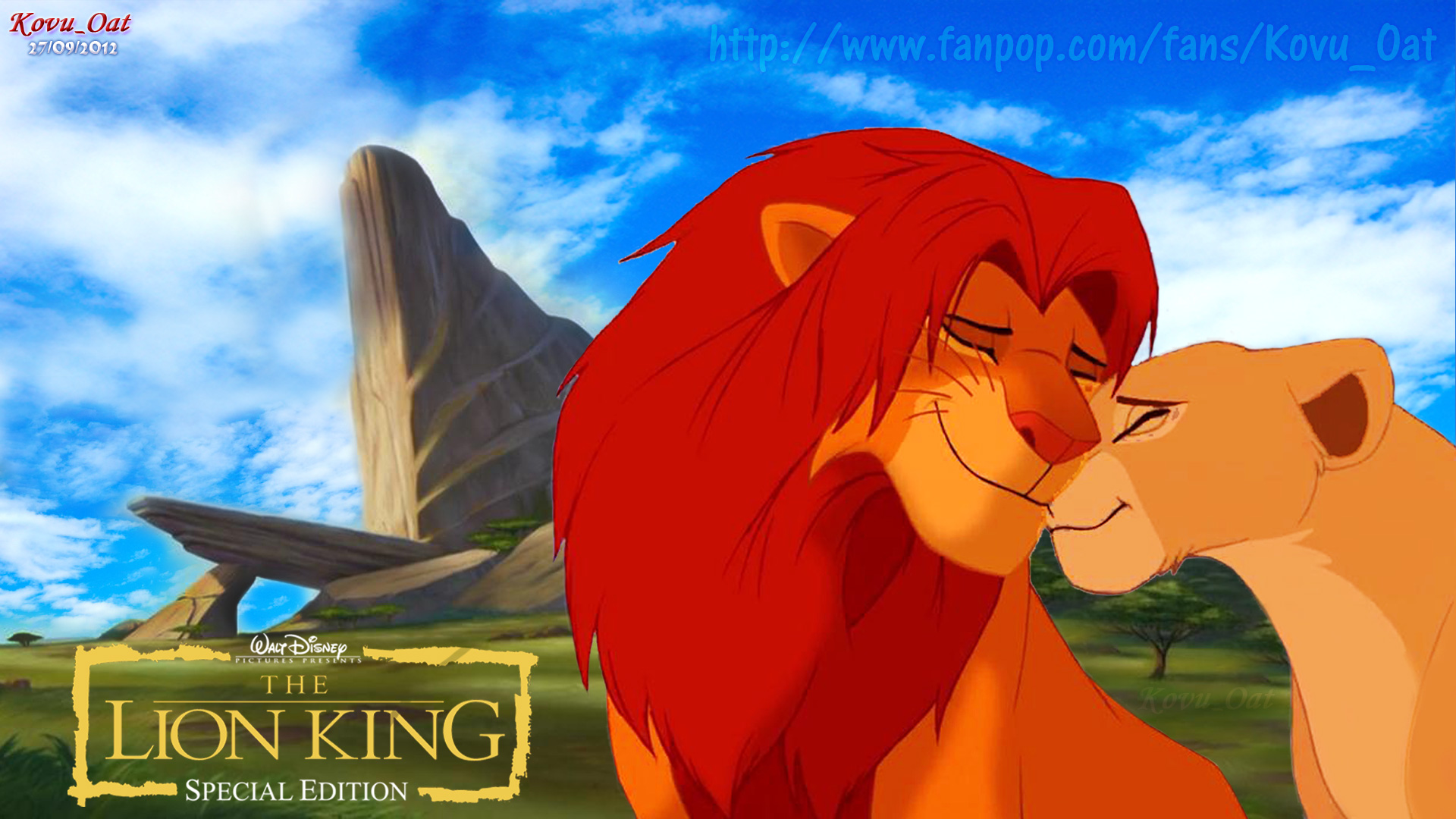 Simba Nala Love at Pride Rock HD wallpaper