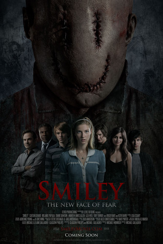 películas de terror fondo de pantalla possibly with a sign called Smiley Movie Poster