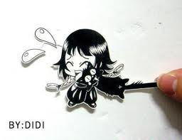 Paper chibi Soi Fon Refusing to Let Go of Yoruichi