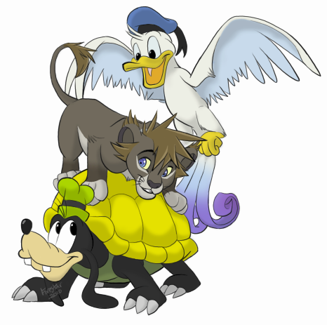 Kingdom Hearts karatasi la kupamba ukuta possibly with anime entitled Sora, Donald and Goofy