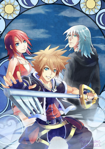 Kaharian mga puso wolpeyper containing anime entitled Sora, Riku and Kairi