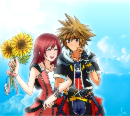 Kingdom Hearts wallpaper possibly with Anime called Sora and Kairi