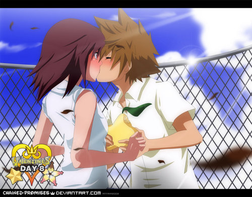 Kingdom Hearts wallpaper with a chainlink fence titled Sora and Kairi