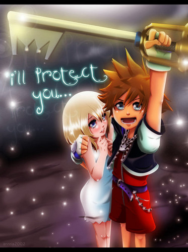 Kingdom Hearts kertas dinding called Sora and Namine