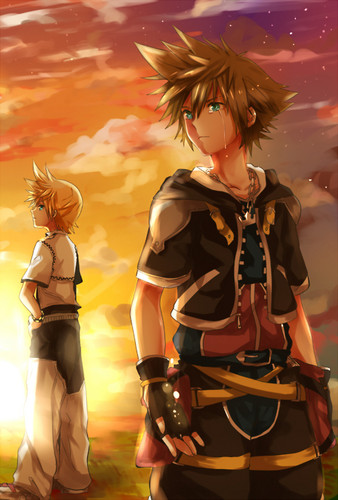Kingdom Hearts karatasi la kupamba ukuta possibly with a hip boot and a lippizan entitled Sora and Roxas
