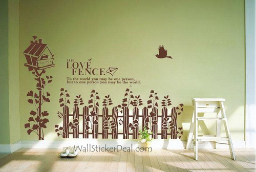The l'amour Fence Birds and Birdcage mur Stickers