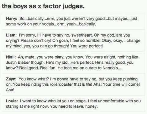 The boys as X-factor judges