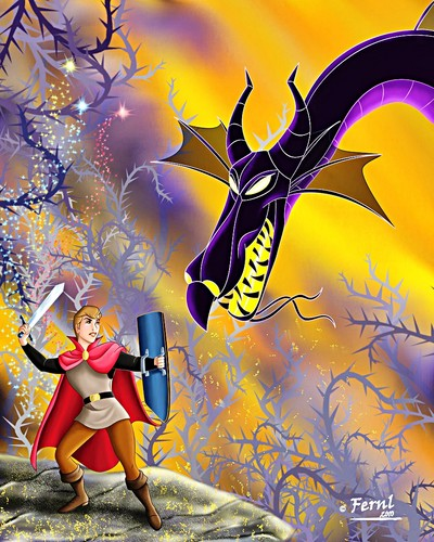 Walt Disney Fan Art - Prince Phillip & Maleficent