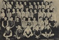 Young Marlon Brando seated in the far right, in the first row, in this sixth grade photo at Lincolin