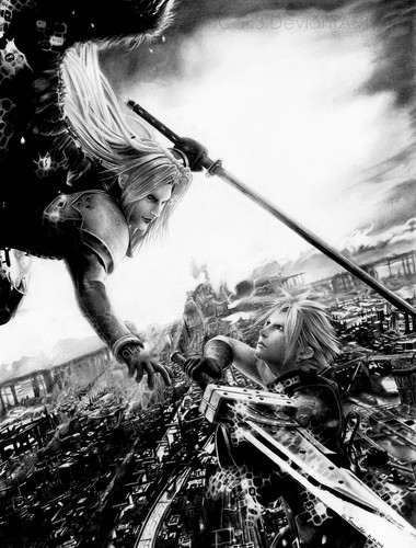 Final Fantasy VII achtergrond probably containing a street, a rifleman, and a fontein titled wolk vs sephiroth