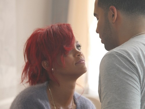 rihanna and drake looking at each other