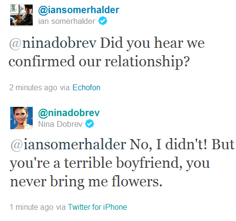 Ian Somerhalder and Nina Dobrev wallpaper titled σℓ∂&ηєω ηιαη тωєєтѕ♥