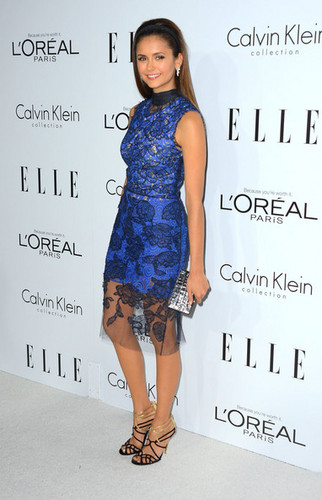Nina Dobrev wallpaper probably containing a cocktail dress titled 19th Annual ELLE Women In Hollywood Celebration - Arrivals