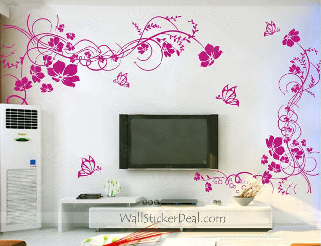 2 sets beautiful flower with butterfly wall stickers for Butterfly wall mural stickers