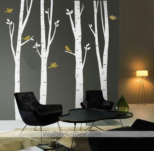 4 Spring Birch puno With Birds pader Sticker