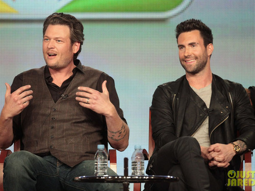 Adam Levine wallpaper with a business suit entitled Adam and Blake