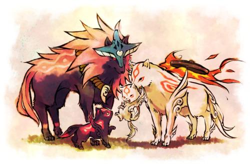 Amaterasu and Oki, with Pups.