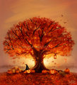 Autumn tree - autumn fan art