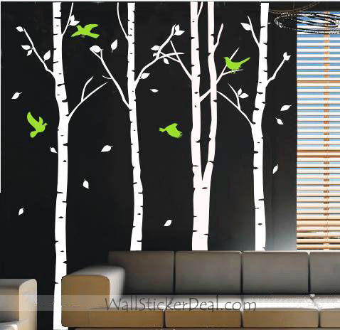 Birds Play in the Birch Forest Стена Sticker