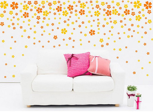 Celestial Beauty Scattering Flowers 100 Cherry Flower Wall Sticker