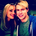 Chord and Dianna on set of Glee - chord-overstreet photo