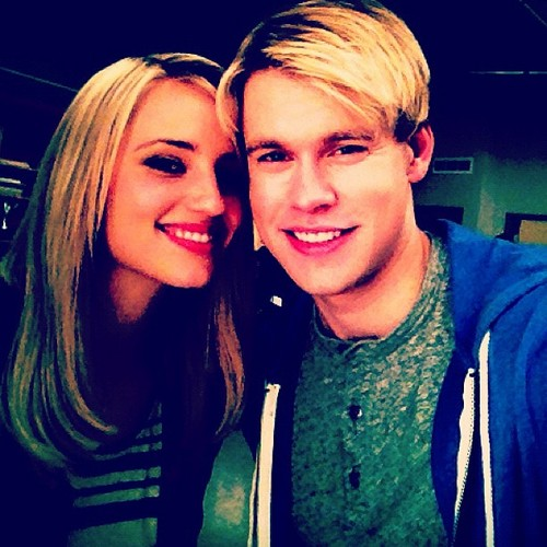 Chord and Dianna on set of Glee