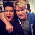 Chord and Harry on set of  Glee - chord-overstreet photo