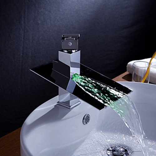 Faucets images Color Changing LED Waterfall Bathroom Sink Faucet ...