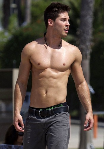 Glee wallpaper probably containing a hunk and a six pack titled Dean Geyer Skateboarding in Santa Monica - October 3, 2012