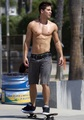 Dean Geyer Skateboarding in Santa Monica - October 3, 2012 - glee photo