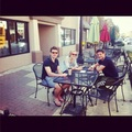 Emmet, Laura and Colm out for coffee in Carmel