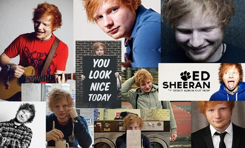 Ed Sheeran wallpaper possibly with a newspaper, a sign, and a business suit titled Fan art
