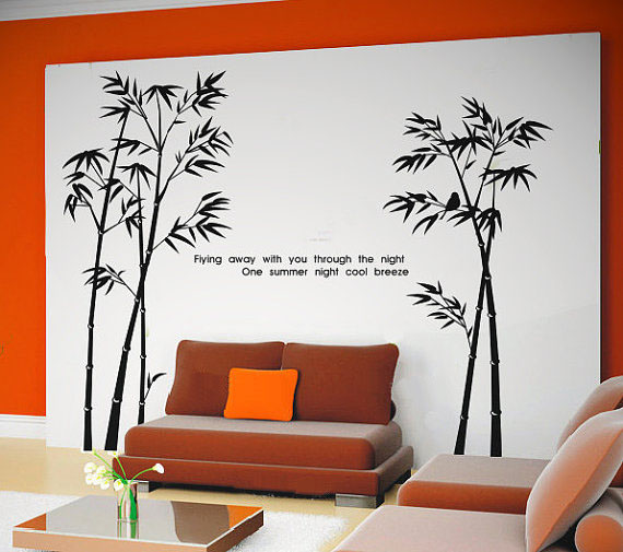 Flying Away with You Over The Night Bamboo Wall Sticker