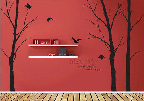 Home Decorating wallpaper possibly containing a living room and a drawing room titled For The People Who Love You Winter Tree With Flying Birds Wall Sticker