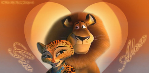 Madagascar 3 wallpaper entitled Gia and Alex in Love