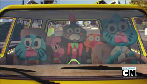 The Amazing World of Gumball wallpaper possibly with an automobile and a ski rack called Gumball,Darwin,Anais,Nicole,and Larry