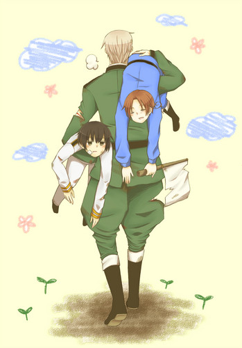 Hetalia wallpaper possibly containing a parasol, a sign, and an outerwear entitled Italy, Germany, and Japan