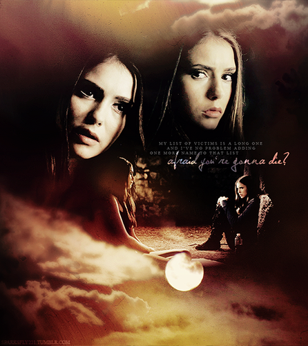 Katherine Pierce and Elena Gilbert wallpaper probably with animê titled Katherine and Elena