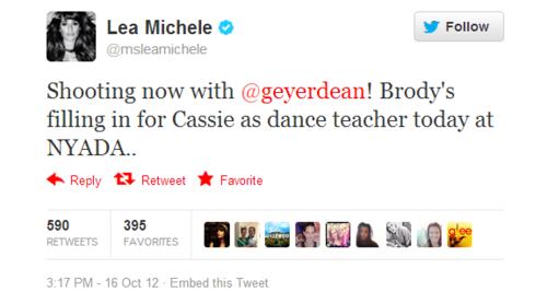 Lea Michele tweet- Spoiler