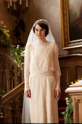 Downton Abbey hình nền probably containing a nightgown, a dress, and a cốc-tai, cocktail dress called Mary and Matthew Crawley Wedding