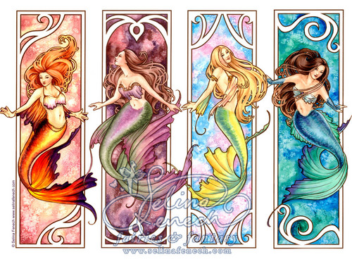 Daydreaming wallpaper containing a stained glass window and anime titled Mermaids