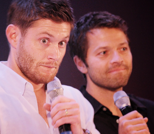 Jensen Ackles and Misha Collins wallpaper probably with a concert and a guitarist entitled Misha & Jensen