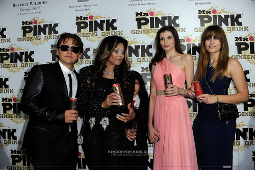 Prince Jackson, Latoya Jackson, Blanket Jackson, ? And Paris Jackson at Mr merah jambu Drink Launch Party